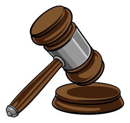 Richter Hammer Holzhammer und Basis Cartoon