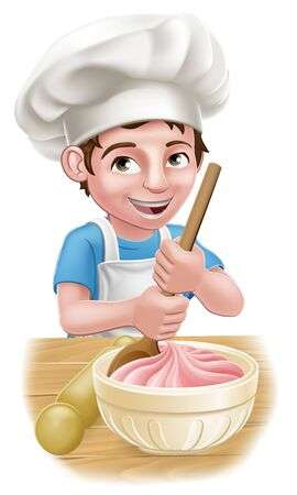 Boy Kid Chef Child Cartoon Character Baking