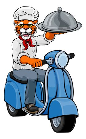 Tiger Chef Scooter Mascot Cartoon Character