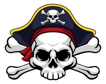 Crâne et os croisés Pirate Jolly Roger en chapeau
