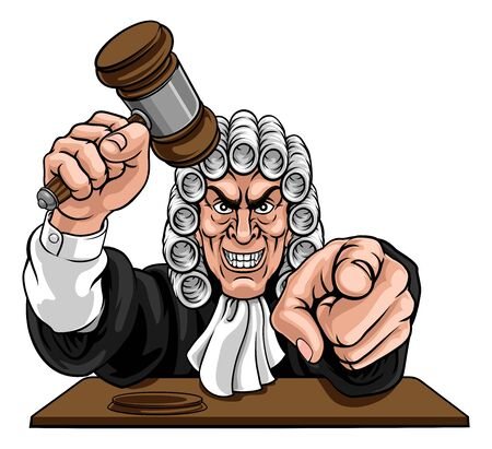 An angry or mean judge cartoon character pointing and holding his gavel hammer