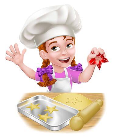 fille, enfant, chef, gosse, dessin animé, caractère, cuisson