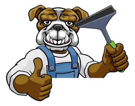 A bulldog cartoon mascot car or window cleaner holding a squeegee tool peeking round a sign and giving a thumbs up