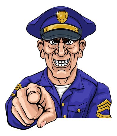 A policeman police officer looking mean and pointing at the viewer