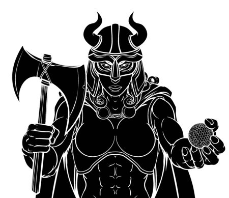 A Viking female warrior woman gladiator golf sports mascot