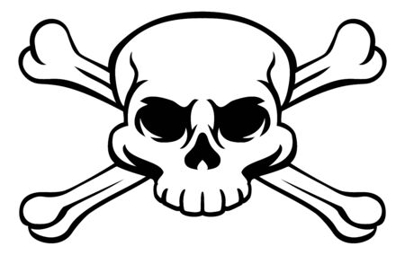 A skull and crossbones or cross bones jolly roger pirate or poison warning sign