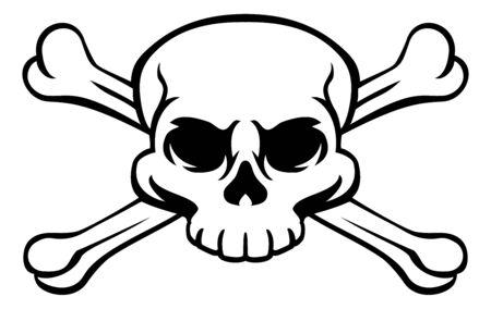 Un teschio e ossa incrociate o ossa incrociate jolly roger pirata o segnale di avvertimento di veleno