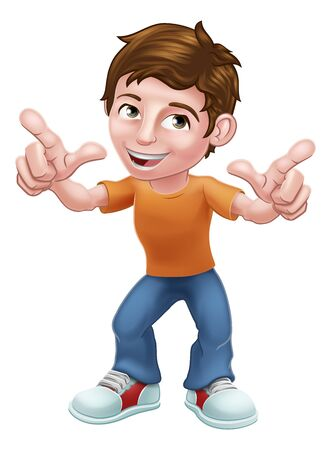 Boy Child Cartoon Character Pointing