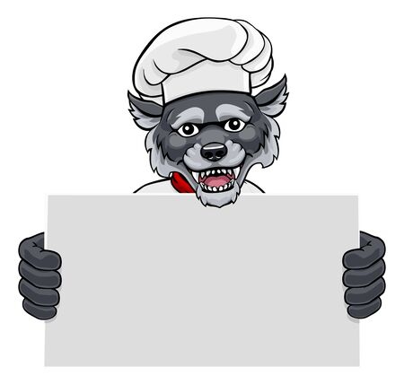 A wolf chef mascot cartoon character holding a sign board Illustration