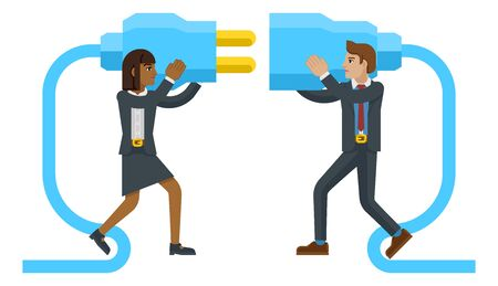 Business man and woman cartoon character mascots connecting two sides of a giant plug together. Ilustração