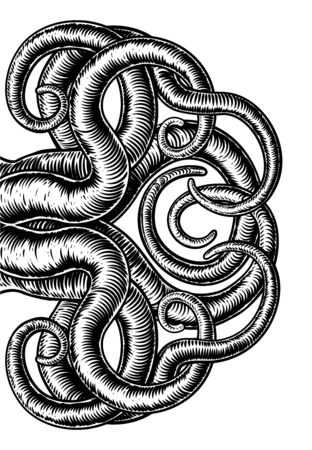 Pulpo Cthulhu Calamar Monstruo Tentáculos Xilografía
