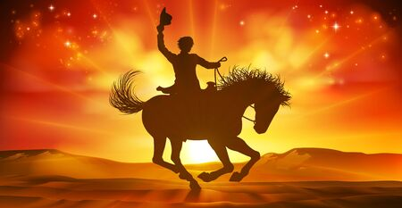 Cowboy Riding Horse Silhouette Sunset Background Vector Illustration