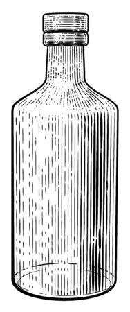 Bebida Botella Vidrio Estilo Grabado En Madera Vintage Grabado