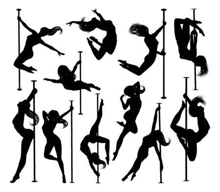 Conjunto de siluetas de mujeres bailarina de poste
