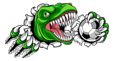dinosaure, football, football, joueur football, sports, mascotte