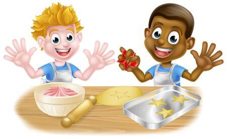 Panaderos o cocineros de niño de dibujos animados Ilustración de vector