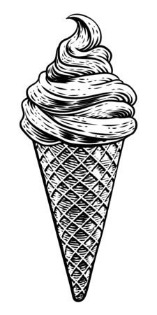 Ice Cream Cone Vintage Woodcut Etching Style Stock Vector - 137543836