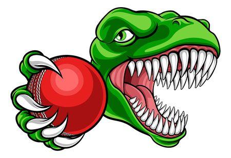 Dinosaure Cricket Player Animal Sports Mascotte