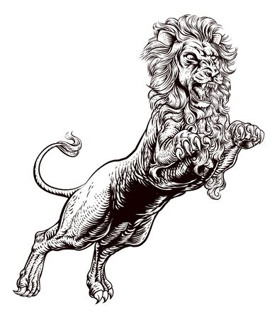 Lion Attacking Illustration