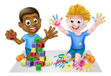 Jongens spelen met plezier