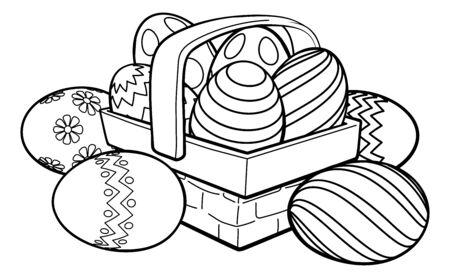 Easter Eggs Basket Hamper Cartoon Illustration
