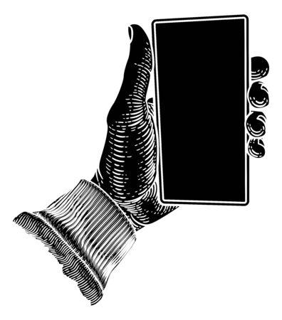 Hand Holding Mobile Phone Vintage Style Foto de archivo - 137544086