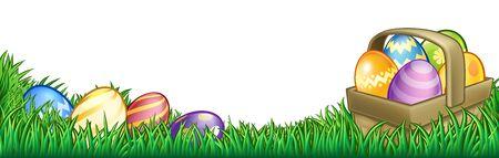 Fondo de cesta de huevos de Pascua