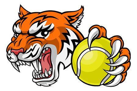 Tiger Tennis Player Animal Sports Mascot