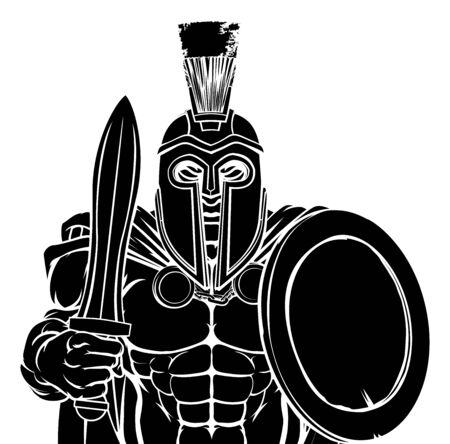 A Spartan or Trojan warrior cartoon sports mascot Illustration