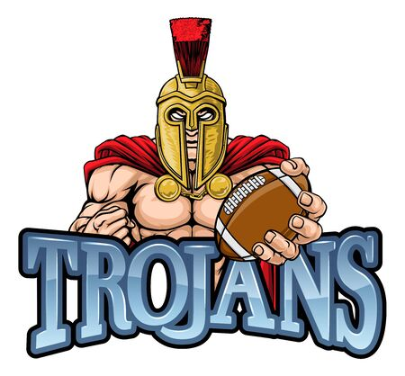 A Spartan or Trojan warrior American football sports mascot holding a ball Illustration