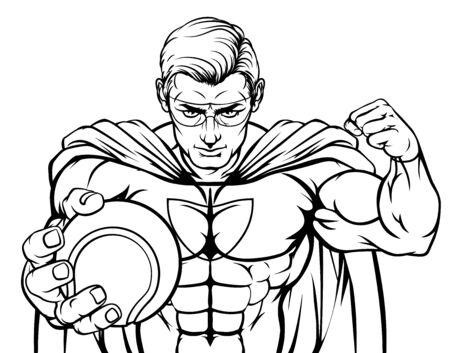 Superhero Holding Tennis Ball Sports Mascot Ilustrace