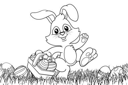 Osterhase Kaninchen Eier Korb Hintergrund Cartoon