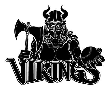 Viking Female Gladiator Baseball Warrior Woman 向量圖像