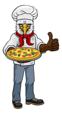 Eagle Pizza Chef Cartoon Restaurant Mascot 일러스트