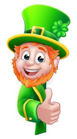 Leprechaun St Patricks Day Cartoon Sign