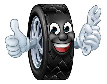 Reifen Cartoon Automechaniker Service Maskottchen