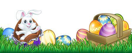 Easter Bunny Rabbit Chocolate Eggs Cartoon