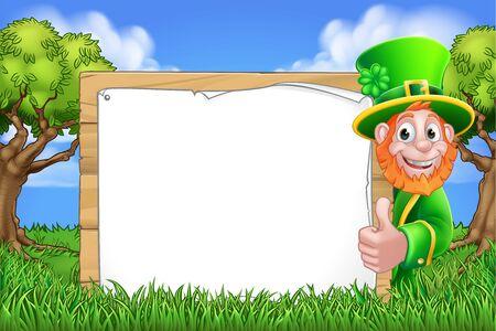 Leprechaun St Patricks Day Sign Cartoon Scene