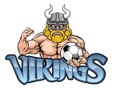 Viking Soccer Football Sports Mascot Иллюстрация