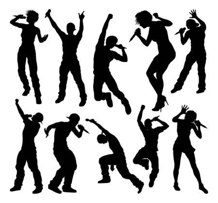 Singers Pop Rock Star Musician Silhouettes