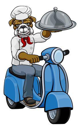 Bulldog Chef Scooter Delivery Mascot