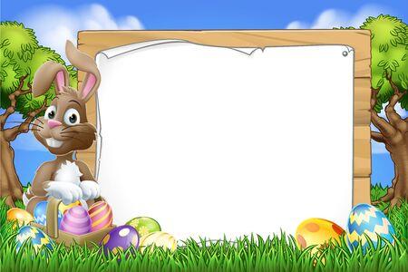 Easter Bunny Sign Eggs Basket Background Cartoon Illustration