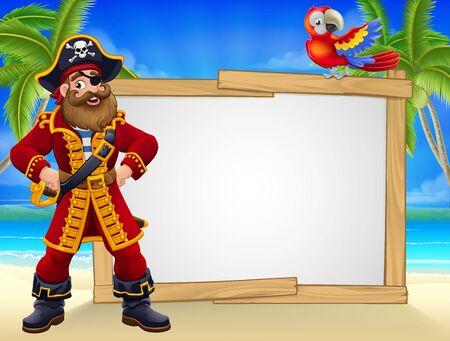 pirate, capitaine, plage, signe, dessin animé Vecteurs
