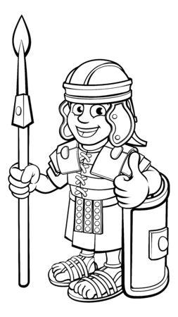 Roman Soldier Cartoon Character Vektorgrafik