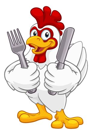 Chicken Rooster Cockerel Knife and Fork Cartoon Ilustracja