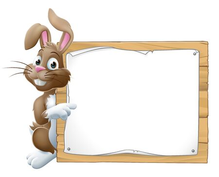 Easter bunny rabbit peeking around a sign and pointing background cartoon