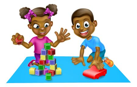 Children Playing with Toys Ilustracja