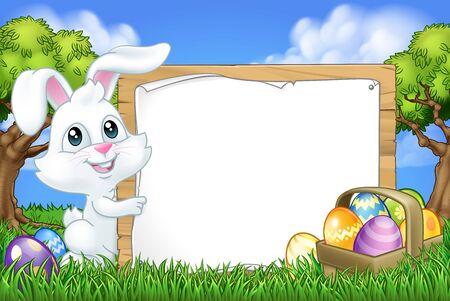 Easter Bunny Rabbit Eggs Sign Background Cartoon Vettoriali