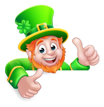 Leprechaun St Patricks Day Cartoon Thumbs Up Sign Ilustracje wektorowe