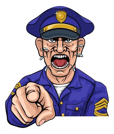 Angry Policeman Police Officer Cartoon Illustration